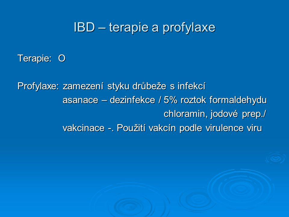 IBD – terapie a profylaxe Terapie: O Profylaxe: zamezení styku drůbeže s infekcí asanace – dezinfekce / 5% roztok formaldehydu asanace – dezinfekce /