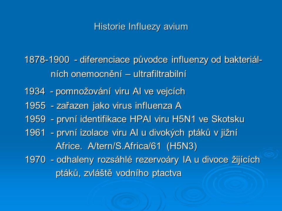 Historie Influezy avium 1878-1900 - diferenciace původce influenzy od bakteriál- 1878-1900 - diferenciace původce influenzy od bakteriál- ních onemocn