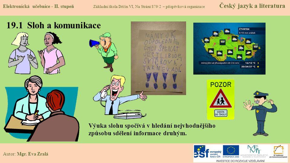 19.1 Sloh a komunikace Elektronická učebnice - II.