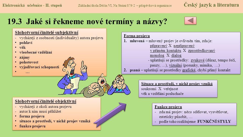 19.3 Jaké si řekneme nové termíny a názvy.Elektronická učebnice - II.