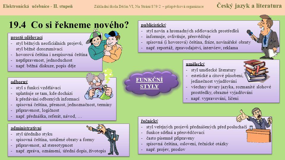 19.4 Co si řekneme nového.Elektronická učebnice - II.
