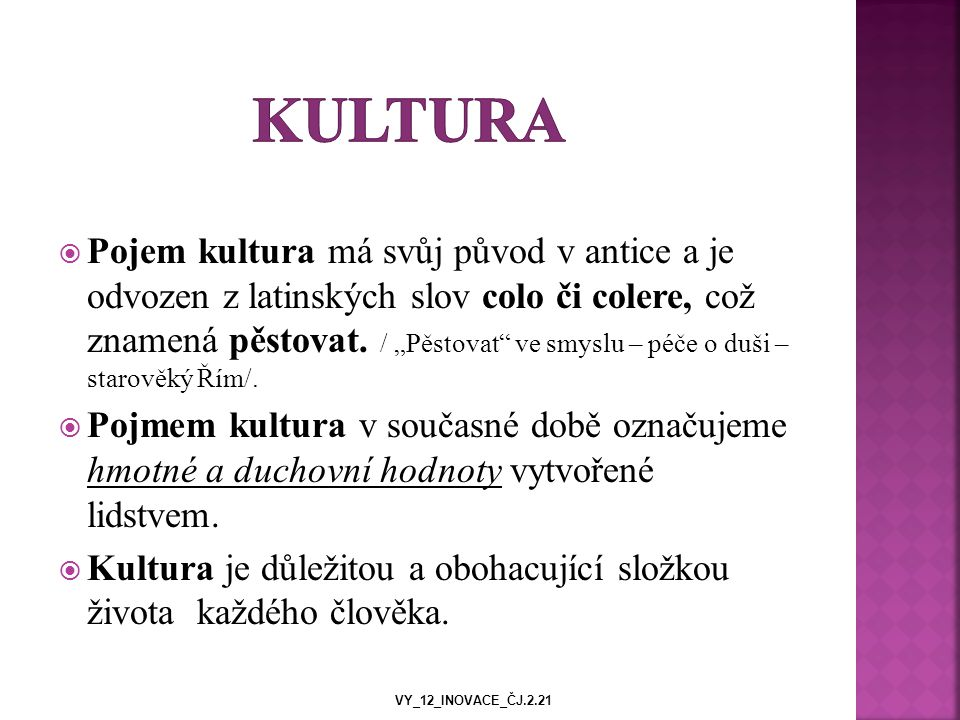  Pojem kultura má svůj původ v antice a je odvozen z latinských slov colo či colere, což znamená pěstovat.