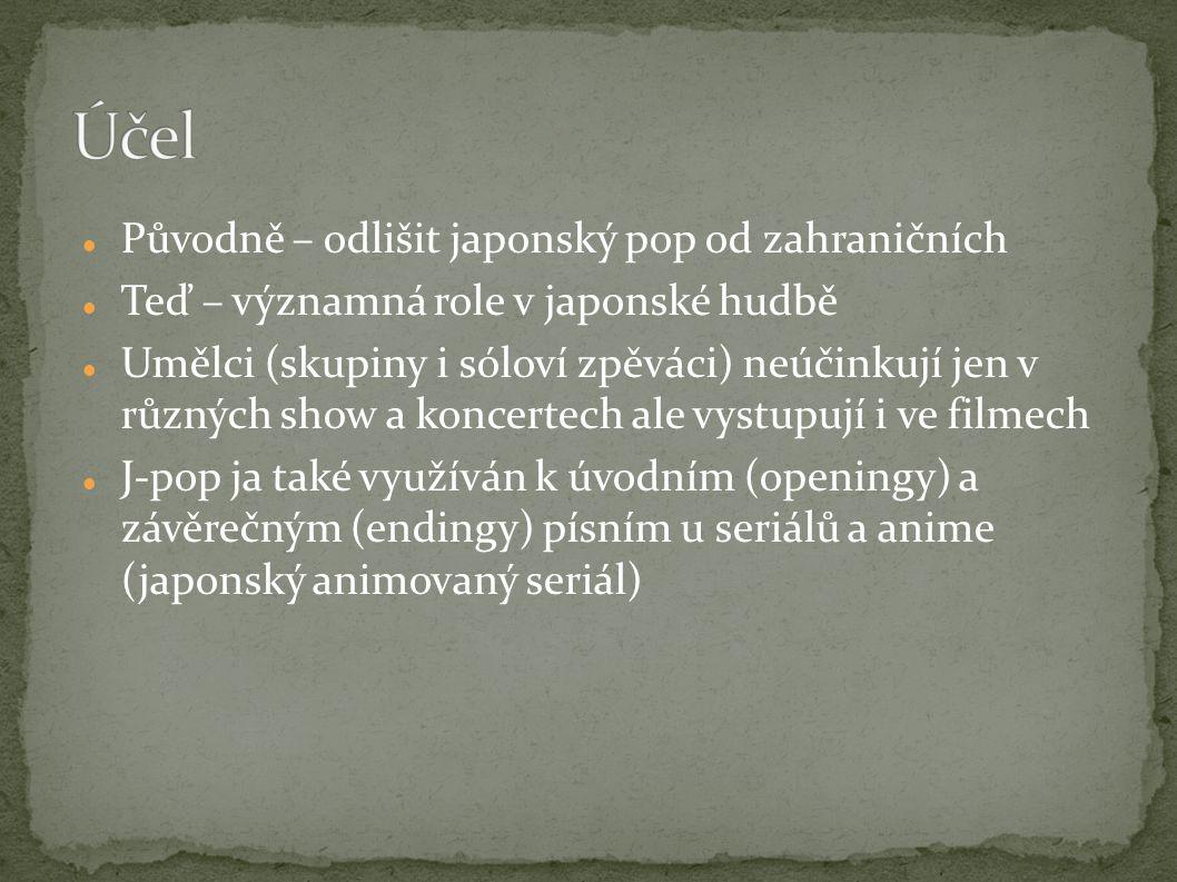 Původně – odlišit japonský pop od zahraničních Teď – významná role v japonské hudbě Umělci (skupiny i sóloví zpěváci) neúčinkují jen v různých show a koncertech ale vystupují i ve filmech J-pop ja také využíván k úvodním (openingy) a závěrečným (endingy) písním u seriálů a anime (japonský animovaný seriál)