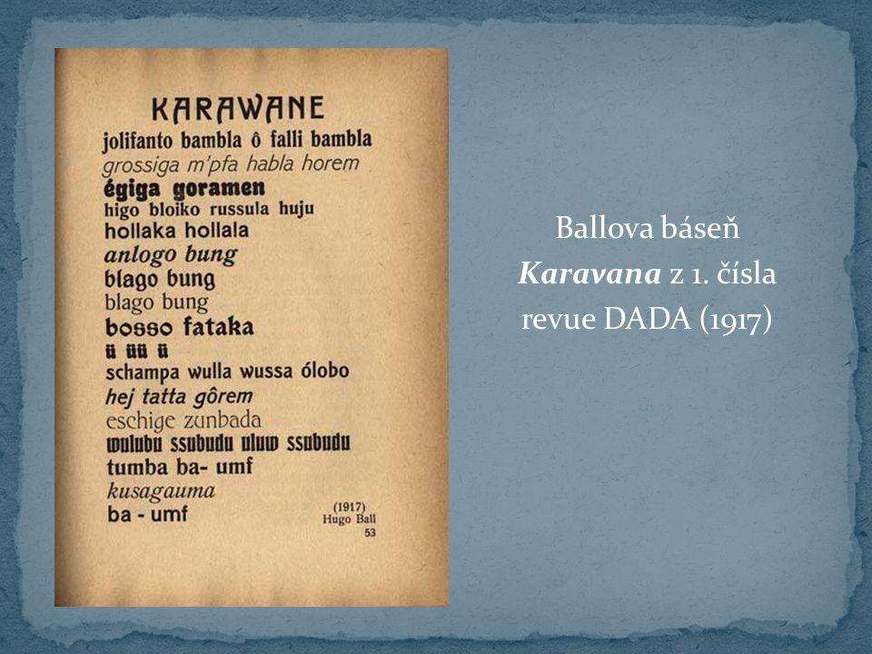 Ballova báseň Karavana z 1. čísla revue DADA (1917)