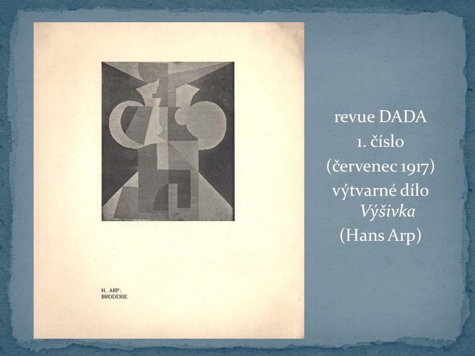 revue DADA 1. číslo (červenec 1917) výtvarné dílo Výšivka (Hans Arp)
