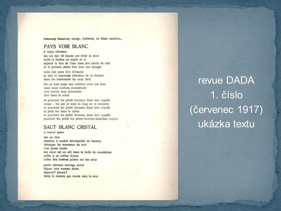 revue DADA 1. číslo (červenec 1917) ukázka textu