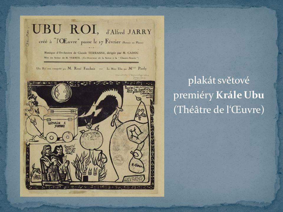 plakát světové premiéry Krále Ubu (Théâtre de l'Œuvre)