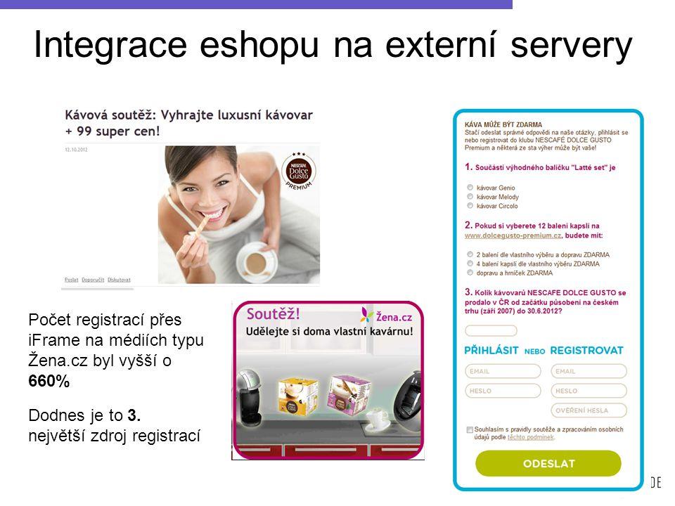 Integrace eshopu na externí servery Počet registrací přes iFrame na médiích typu Žena.cz byl vyšší o 660% Dodnes je to 3.
