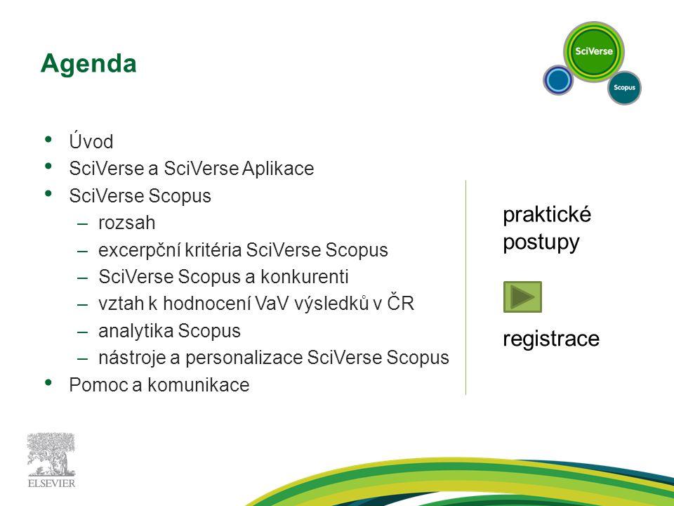 Agenda Úvod SciVerse a SciVerse Aplikace SciVerse Scopus –rozsah –excerpční kritéria SciVerse Scopus –SciVerse Scopus a konkurenti –vztah k hodnocení VaV výsledků v ČR –analytika Scopus –nástroje a personalizace SciVerse Scopus Pomoc a komunikace praktické postupy registrace