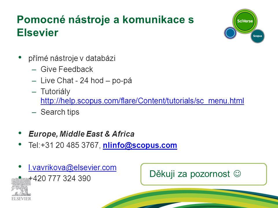 Pomocné nástroje a komunikace s Elsevier přímé nástroje v databázi –Give Feedback –Live Chat - 24 hod – po-pá –Tutoriály http://help.scopus.com/flare/