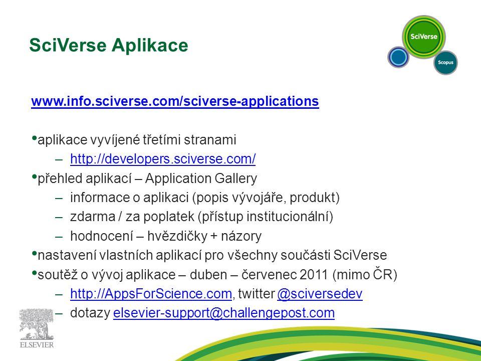 SciVerse Aplikace www.info.sciverse.com/sciverse-applications aplikace vyvíjené třetími stranami –http://developers.sciverse.com/http://developers.sciverse.com/ přehled aplikací – Application Gallery –informace o aplikaci (popis vývojáře, produkt) –zdarma / za poplatek (přístup institucionální) –hodnocení – hvězdičky + názory nastavení vlastních aplikací pro všechny součásti SciVerse soutěž o vývoj aplikace – duben – červenec 2011 (mimo ČR) –http://AppsForScience.com, twitter @sciversedev http://AppsForScience.com@sciversedev –dotazy elsevier-support@challengepost.comelsevier-support@challengepost.com