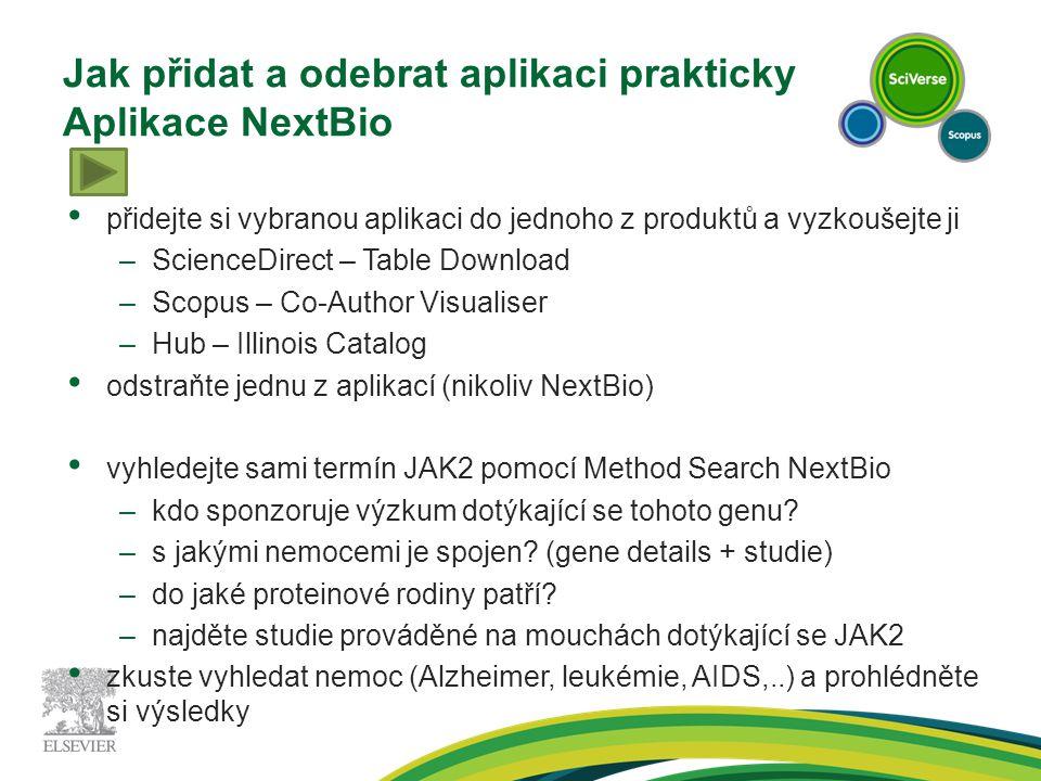 Jak přidat a odebrat aplikaci prakticky Aplikace NextBio přidejte si vybranou aplikaci do jednoho z produktů a vyzkoušejte ji –ScienceDirect – Table Download –Scopus – Co-Author Visualiser –Hub – Illinois Catalog odstraňte jednu z aplikací (nikoliv NextBio) vyhledejte sami termín JAK2 pomocí Method Search NextBio –kdo sponzoruje výzkum dotýkající se tohoto genu.