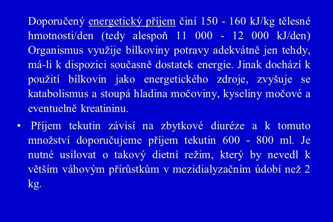 Doporučený energetický příjem činí 150 - 160 kJ/kg tělesné hmotnosti/den (tedy alespoň 11 000 - 12 000 kJ/den) Organismus využije bílkoviny potravy ad