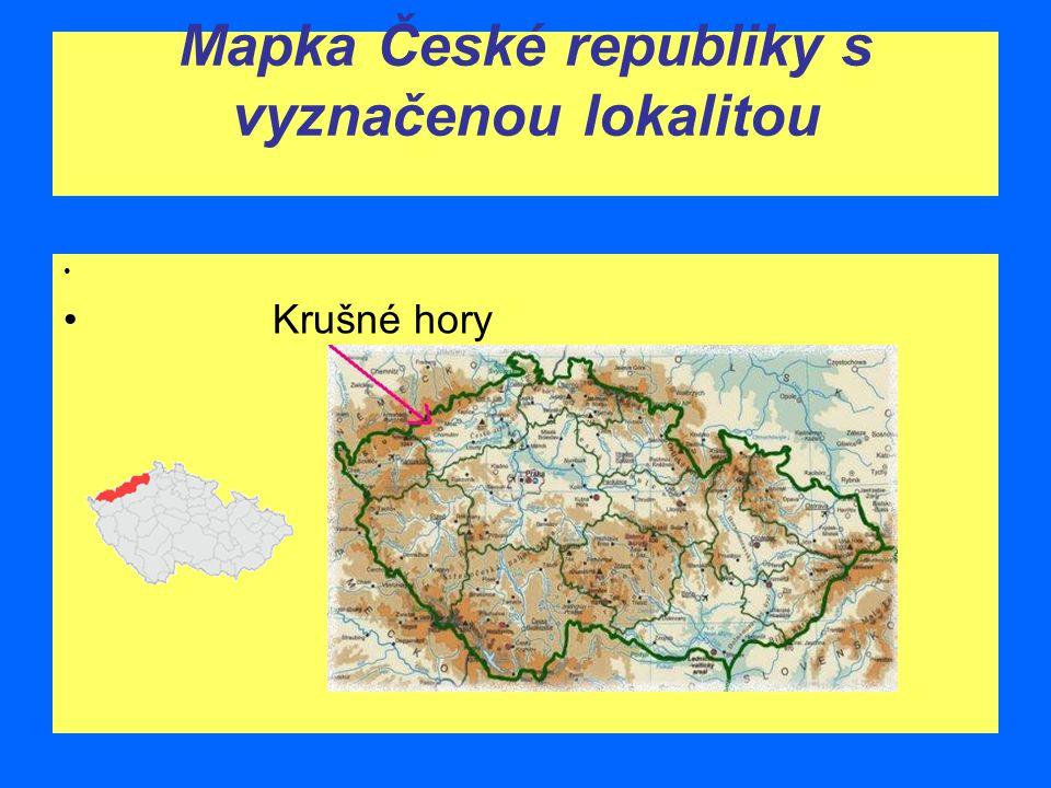 Mapka České republiky s vyznačenou lokalitou Krušné hory
