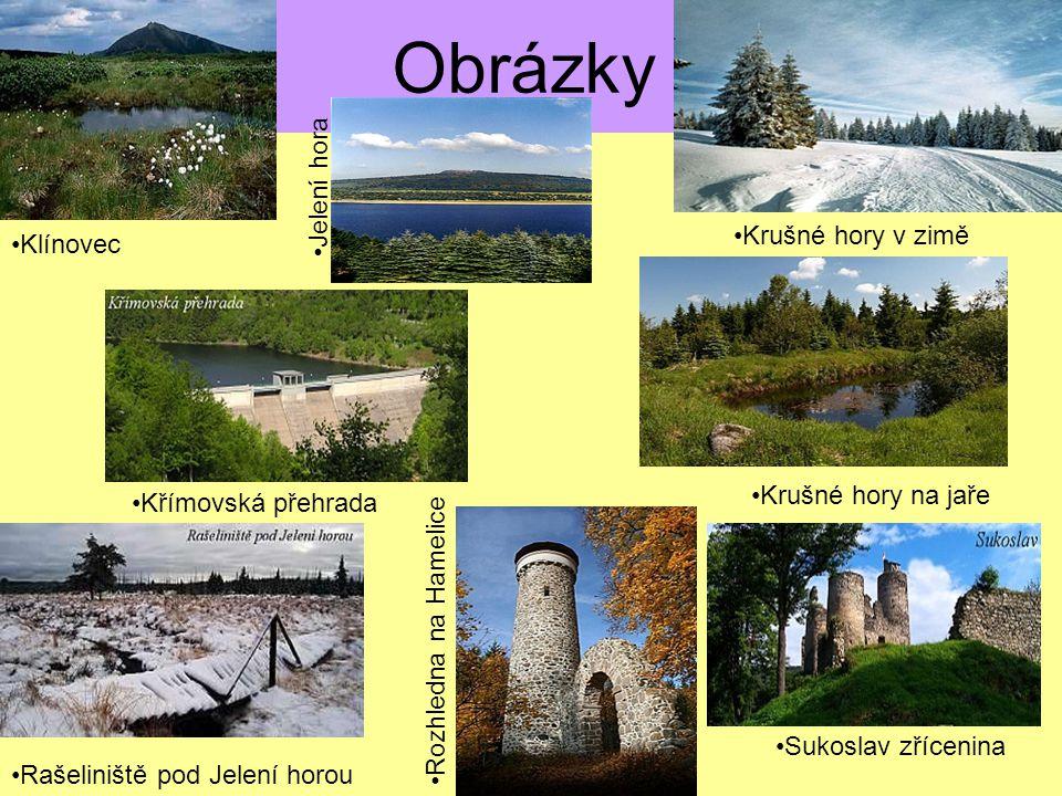 Použité zdroje informací http://www.travel-cz.cz/img_web/mapa_cr.jpg http://www.krusnohorsky.cz/showpage.php?name=chko_slavk ovsky_les#msg-16195http://www.krusnohorsky.cz/showpage.php?name=chko_slavk ovsky_les#msg-16195 http://cs.wikipedia.org/wiki/Kru%C5%A1n%C3%A9_hory http://www.krusne-hory.cz/cz/blog/turisticke-zajimavosti- krusnych-hor-23http://www.krusne-hory.cz/cz/blog/turisticke-zajimavosti- krusnych-hor-23 http://www.blizprirode.cz/showdoc.do?docid=16&page=2 http://cestovani.kr- karlovarsky.cz/cz/pronavstevniky/Priroda/hory/Krusnehory/Stra nky/Zivocichove.aspxhttp://cestovani.kr- karlovarsky.cz/cz/pronavstevniky/Priroda/hory/Krusnehory/Stra nky/Zivocichove.aspx