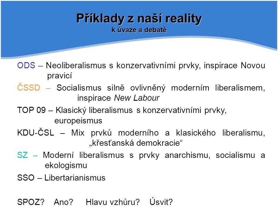 Příklady z naší reality k úvaze a debatě ODS – Neoliberalismus s konzervativními prvky, inspirace Novou pravicí ČSSD – Socialismus silně ovlivněný mod