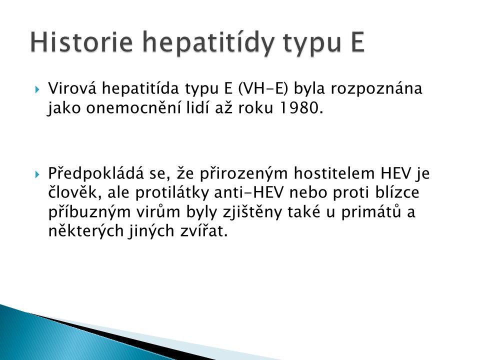 Virová hepatitída typu E (VH-E) byla rozpoznána jako onemocnění lidí až roku 1980.