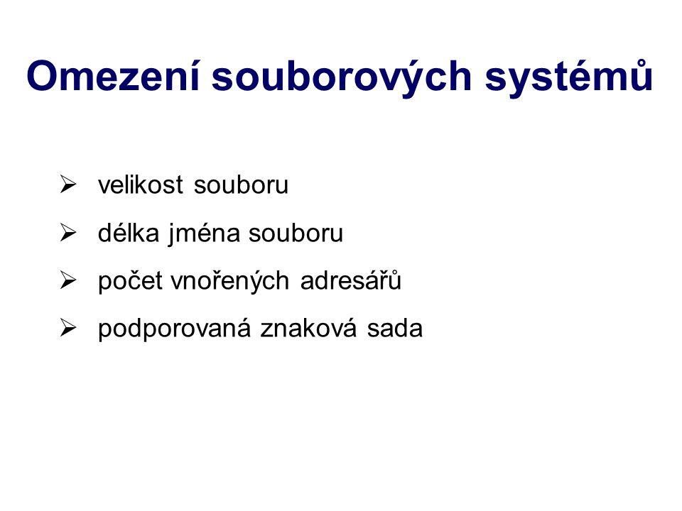 1) Soubor pojmenovaná sada dat uložená na nějakém datovém médiu, se kterou lze pracovat nástroji OS jako s jedním celkem Souborový systém uchovává o souborech řadu informací: jjméno – jedinečný název souboru ddélku – velikost v počtu bytů ttyp – umožňuje odlišit typ obsažených dat ppřístupová oprávnění – kdo smí se souborem pracovat (čtení, zápis, …) vvlastníka – uživatel vlastnící soubor ččasové informace (čas vytvoření, čas posledního přístupu k souboru, čas poslední změny v obsahu souboru)