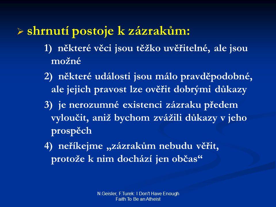 """N.Geisler, F.Turek: I Don t Have Enough Faith To Be an Atheist   shrnutí postoje k zázrakům: 1) některé věci jsou těžko uvěřitelné, ale jsou možné 2) některé události jsou málo pravděpodobné, ale jejich pravost lze ověřit dobrými důkazy 3) je nerozumné existenci zázraku předem vyloučit, aniž bychom zvážili důkazy v jeho prospěch 4) neříkejme """"zázrakům nebudu věřit, protože k nim dochází jen občas"""