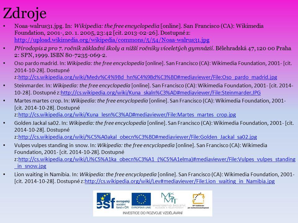 Zdroje Noaa-walrus31.jpg. In: Wikipedia: the free encyclopedia [online]. San Francisco (CA): Wikimedia Foundation, 2001-, 20. 1. 2005, 23:42 [cit. 201