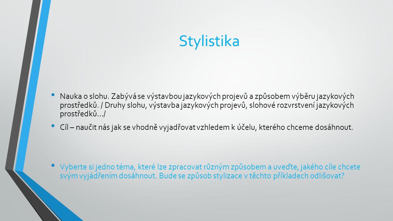 Stylistika Nauka o slohu. Zabývá se výstavbou jazykových projevů a způsobem výběru jazykových prostředků. / Druhy slohu, výstavba jazykových projevů,