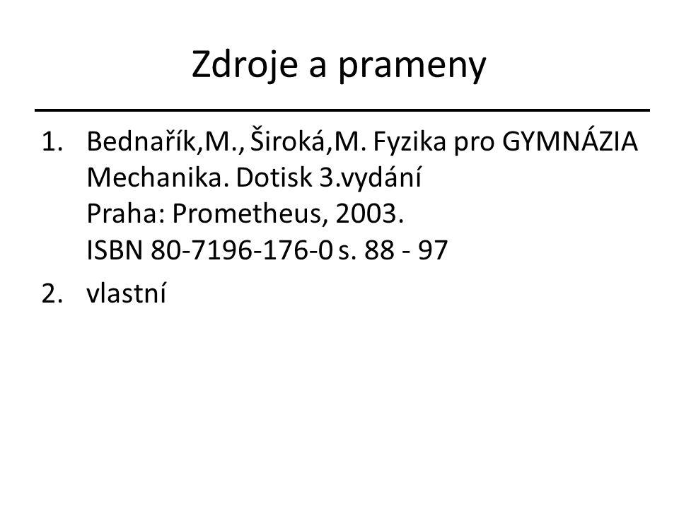 Zdroje a prameny 1.Bednařík,M., Široká,M. Fyzika pro GYMNÁZIA Mechanika. Dotisk 3.vydání Praha: Prometheus, 2003. ISBN 80-7196-176-0 s. 88 - 97 2.vlas
