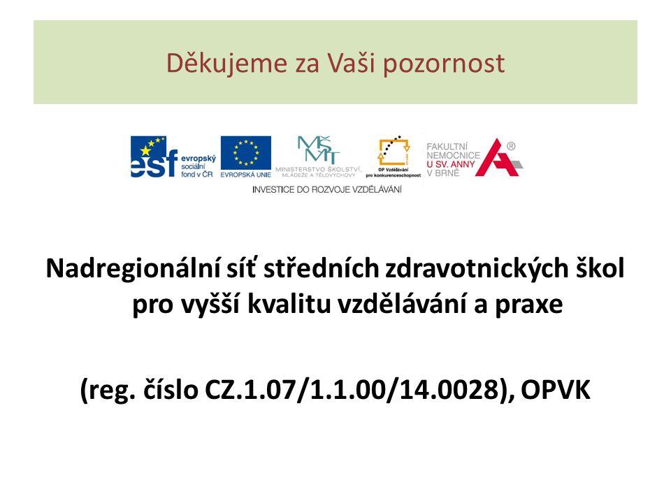 Děkujeme za Vaši pozornost Nadregionální síť středních zdravotnických škol pro vyšší kvalitu vzdělávání a praxe (reg. číslo CZ.1.07/1.1.00/14.0028), O