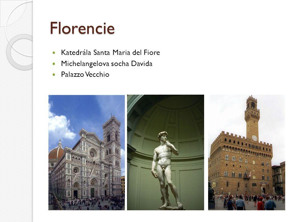 Florencie Katedrála Santa Maria del Fiore Michelangelova socha Davida Palazzo Vecchio