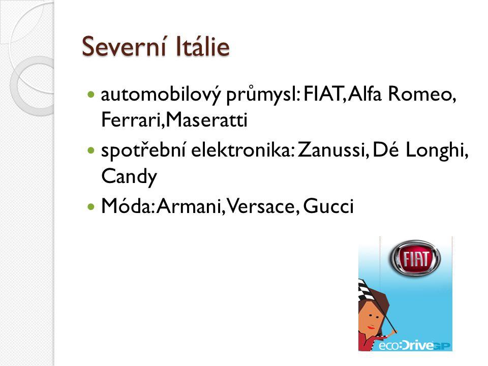 Severní Itálie automobilový průmysl: FIAT, Alfa Romeo, Ferrari,Maseratti spotřební elektronika: Zanussi, Dé Longhi, Candy Móda: Armani, Versace, Gucci