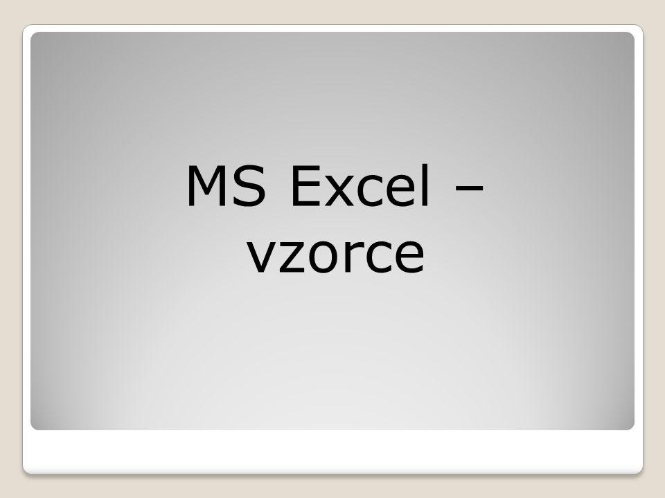 MS Excel – vzorce