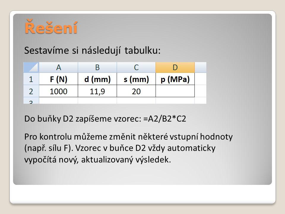 Řešení Sestavíme si následují tabulku: Do buňky D2 zapíšeme vzorec: =A2/B2*C2 Pro kontrolu můžeme změnit některé vstupní hodnoty (např.