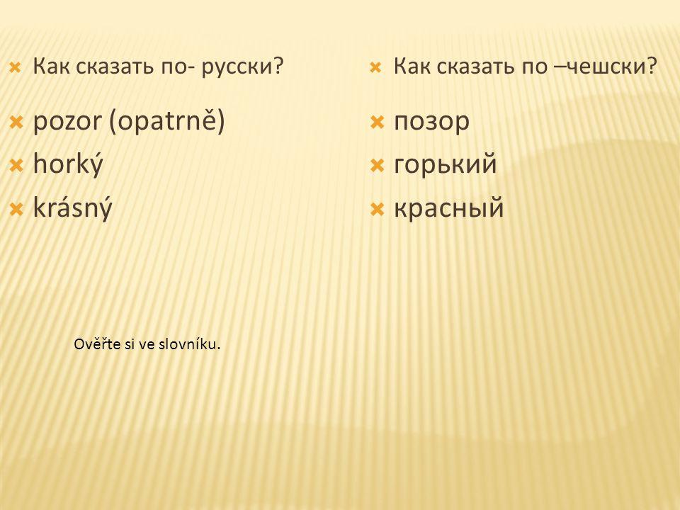  Как сказать по- русски.  Как сказать по –чешски.