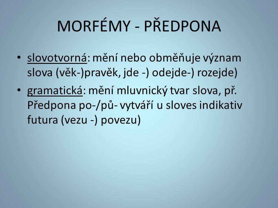 MORFÉMY - PŘEDPONA slovotvorná: mění nebo obměňuje význam slova (věk-)pravěk, jde -) odejde-) rozejde) gramatická: mění mluvnický tvar slova, př.