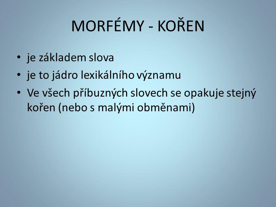 MORFÉMY - KOŘEN je základem slova je to jádro lexikálního významu Ve všech příbuzných slovech se opakuje stejný kořen (nebo s malými obměnami)