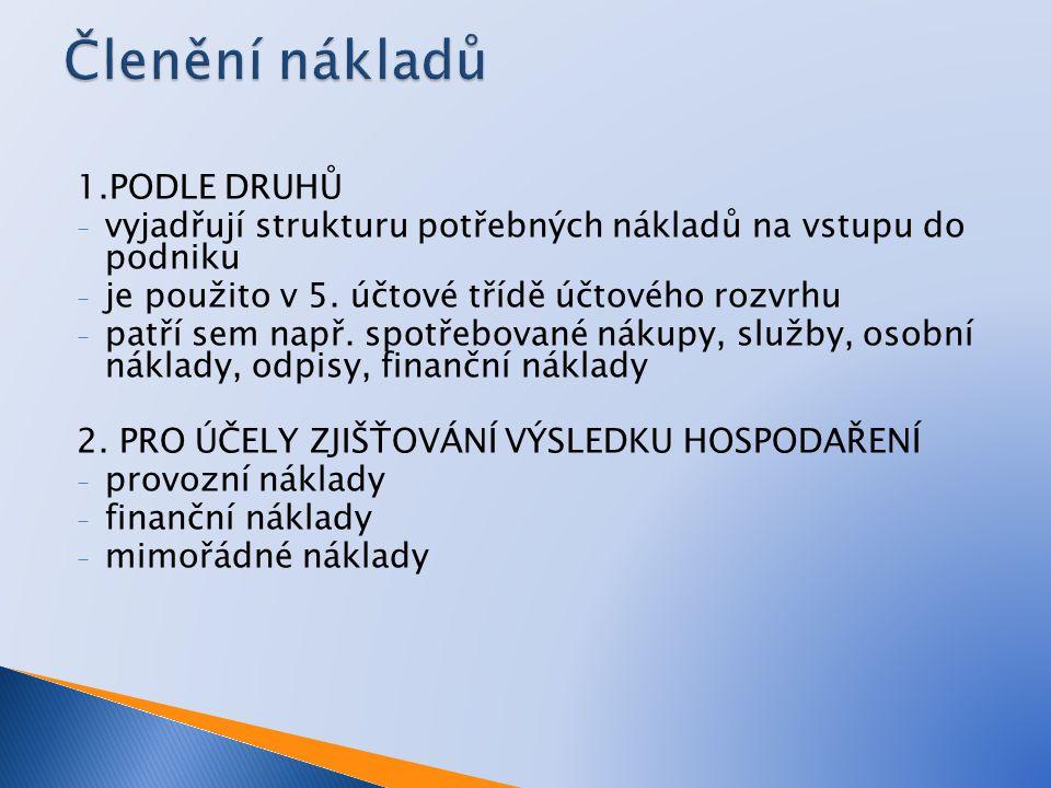 1.PODLE DRUHŮ - vyjadřují strukturu potřebných nákladů na vstupu do podniku - je použito v 5.