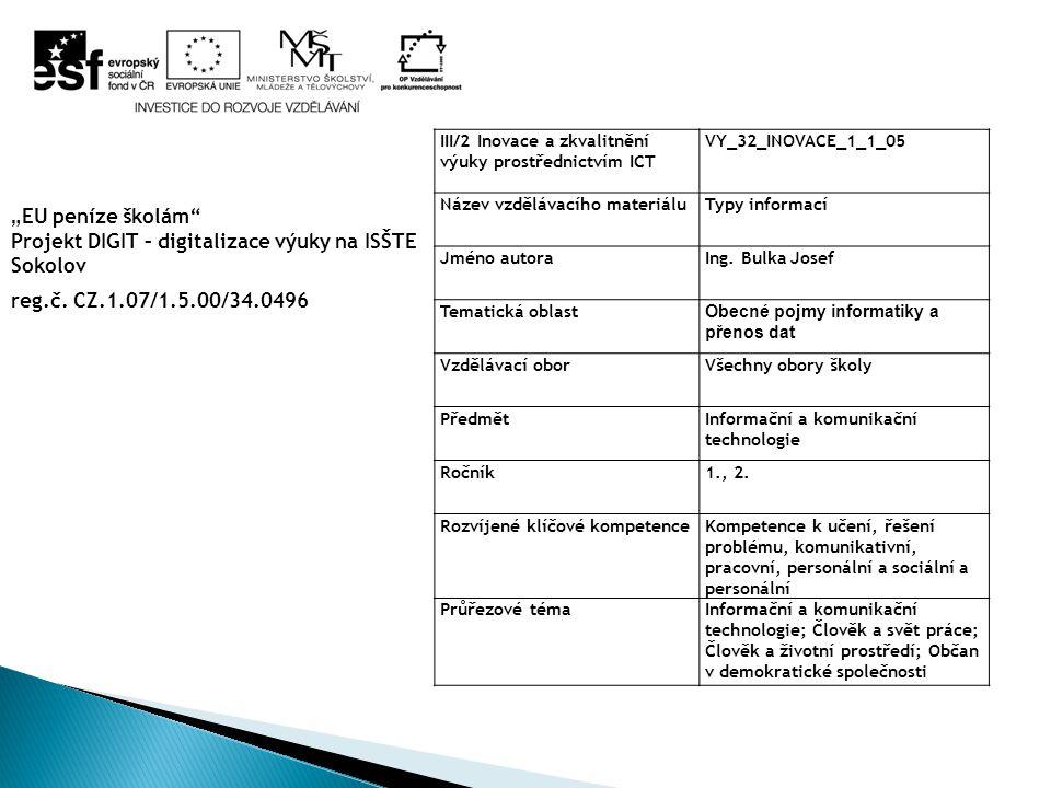 III/2 Inovace a zkvalitnění výuky prostřednictvím ICT VY_32_INOVACE_1_1_05 Název vzdělávacího materiáluTypy informací Jméno autoraIng. Bulka Josef Tem