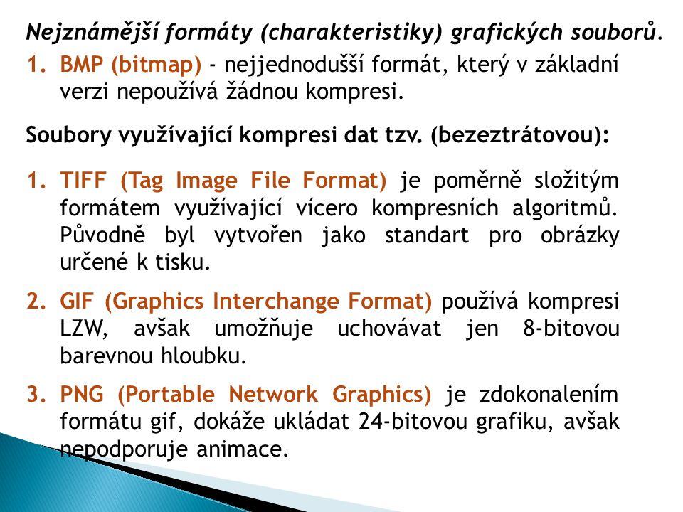 1.BMP (bitmap) - nejjednodušší formát, který v základní verzi nepoužívá žádnou kompresi. Soubory využívající kompresi dat tzv. (bezeztrátovou): 1.TIFF