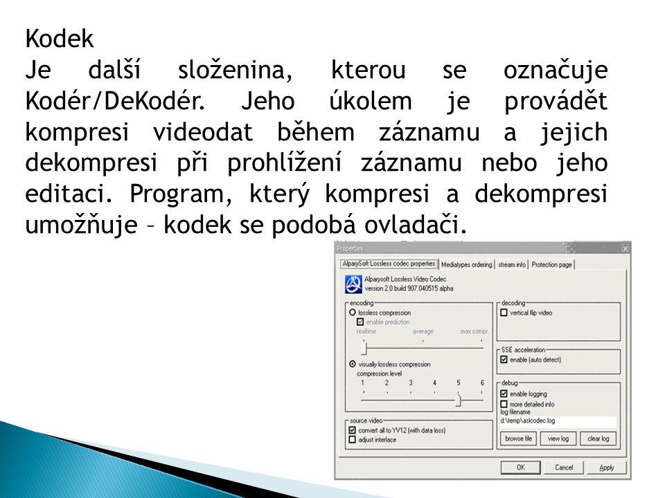 Kodek Je další složenina, kterou se označuje Kodér/DeKodér. Jeho úkolem je provádět kompresi videodat během záznamu a jejich dekompresi při prohlížení