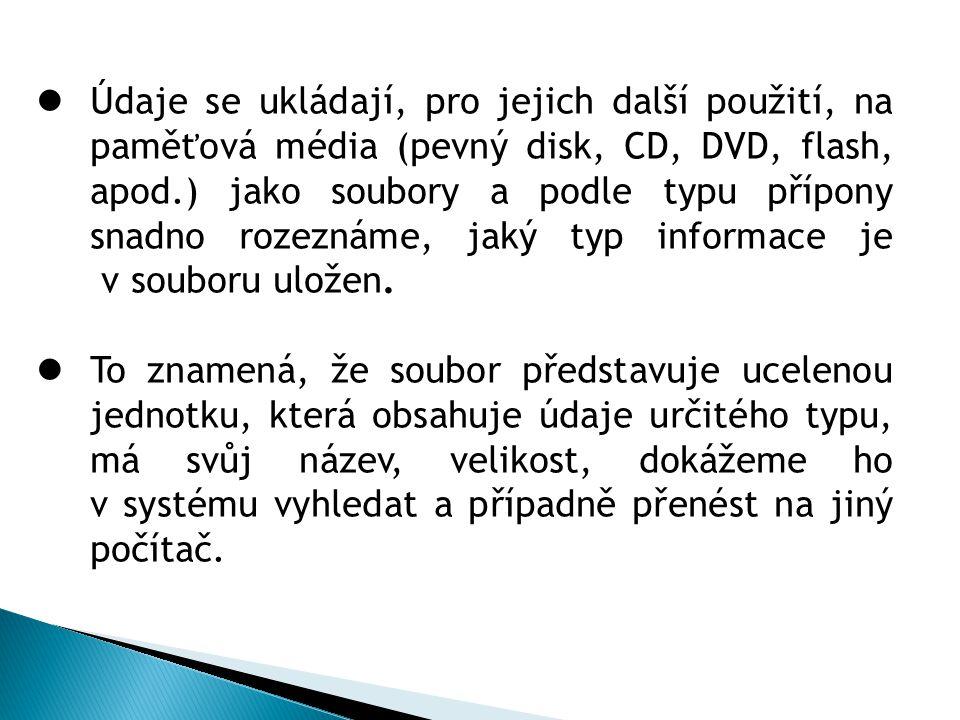 Údaje se ukládají, pro jejich další použití, na paměťová média (pevný disk, CD, DVD, flash, apod.) jako soubory a podle typu přípony snadno rozeznáme,