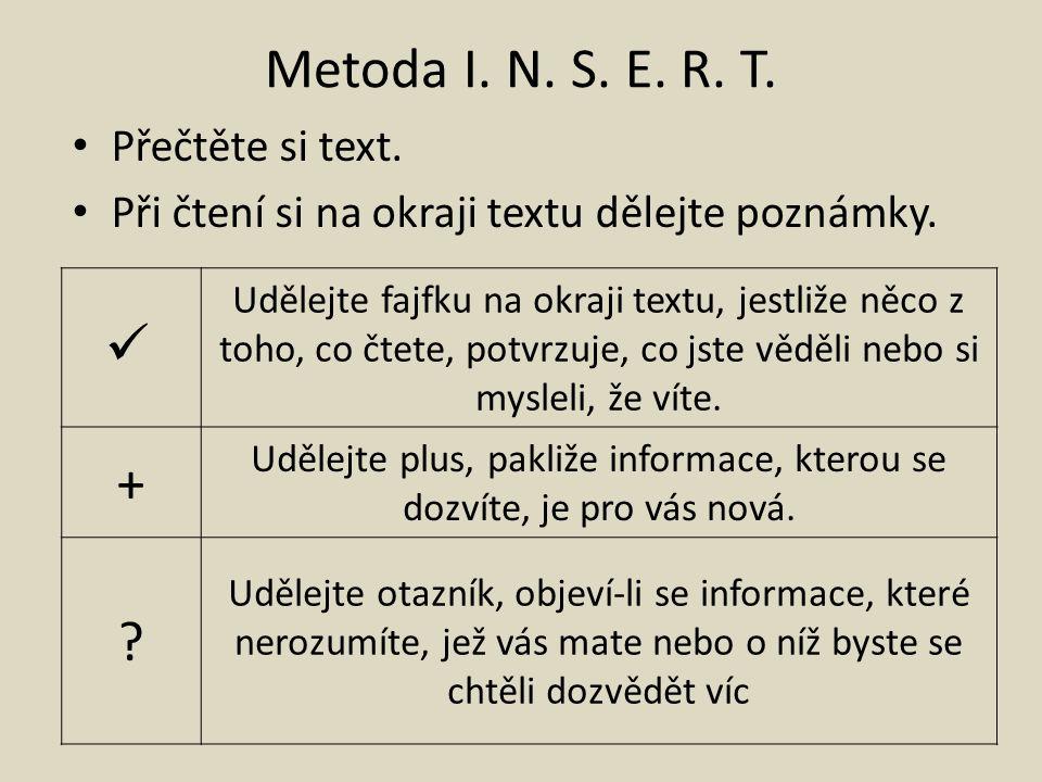 Metoda I. N. S. E. R. T. Přečtěte si text. Při čtení si na okraji textu dělejte poznámky.