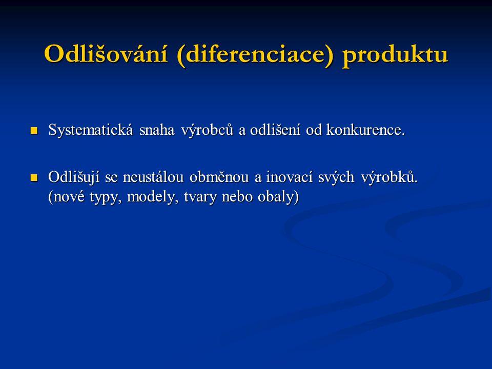 Odlišování (diferenciace) produktu Systematická snaha výrobců a odlišení od konkurence. Systematická snaha výrobců a odlišení od konkurence. Odlišují