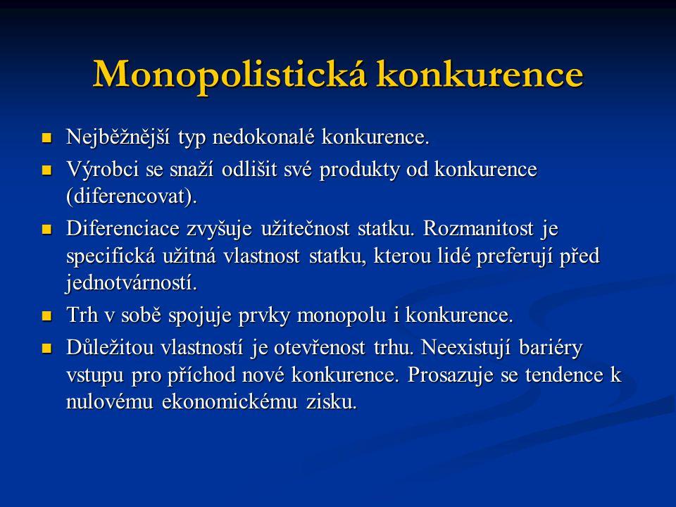 Monopolistická konkurence Nejběžnější typ nedokonalé konkurence.
