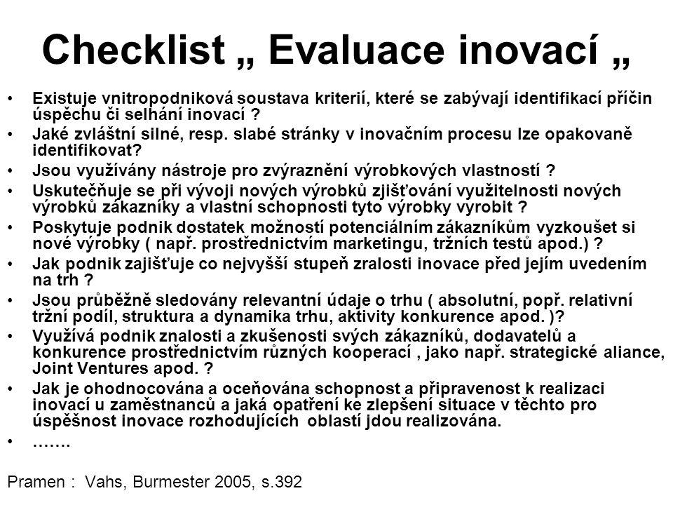 """Checklist """" Evaluace inovací """" Existuje vnitropodniková soustava kriterií, které se zabývají identifikací příčin úspěchu či selhání inovací ."""