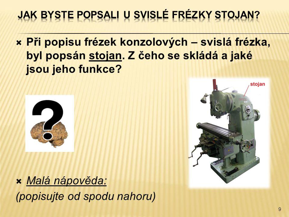  Při popisu frézek konzolových – svislá frézka, byl popsán stojan. Z čeho se skládá a jaké jsou jeho funkce?  Malá nápověda: (popisujte od spodu nah