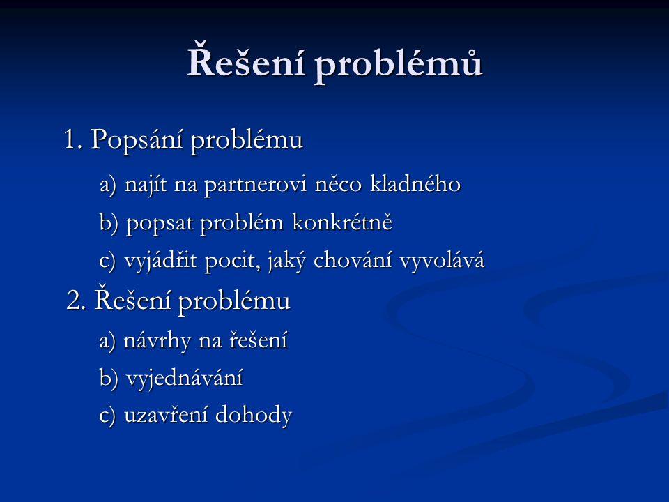 Řešení problémů 1. Popsání problému 1. Popsání problému a) najít na partnerovi něco kladného a) najít na partnerovi něco kladného b) popsat problém ko