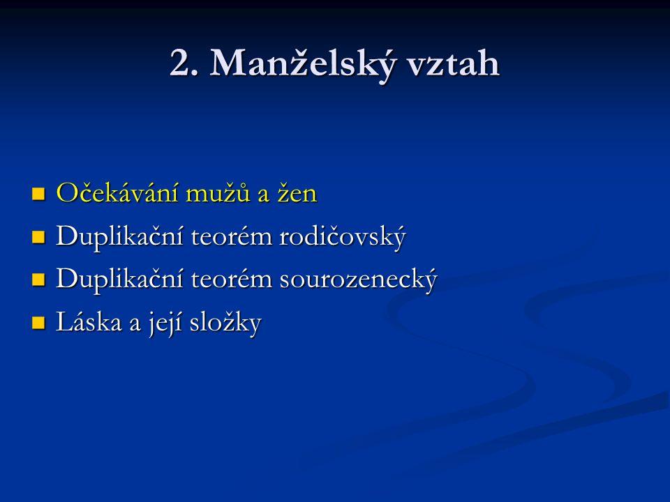 2. Manželský vztah Očekávání mužů a žen Očekávání mužů a žen Duplikační teorém rodičovský Duplikační teorém rodičovský Duplikační teorém sourozenecký