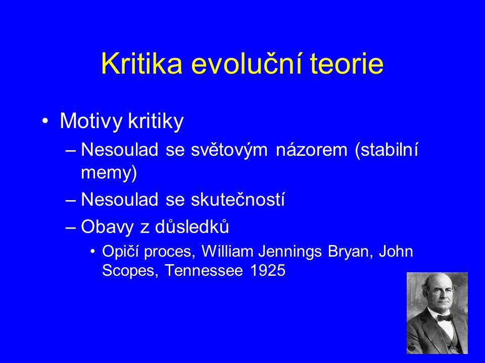 Kritika evoluční teorie Motivy kritiky –Nesoulad se světovým názorem (stabilní memy) –Nesoulad se skutečností –Obavy z důsledků Opičí proces, William Jennings Bryan, John Scopes, Tennessee 1925