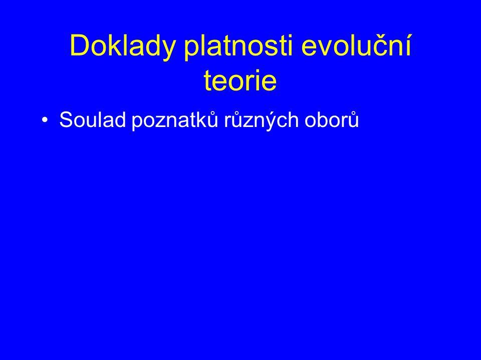 Doklady platnosti evoluční teorie Soulad poznatků různých oborů