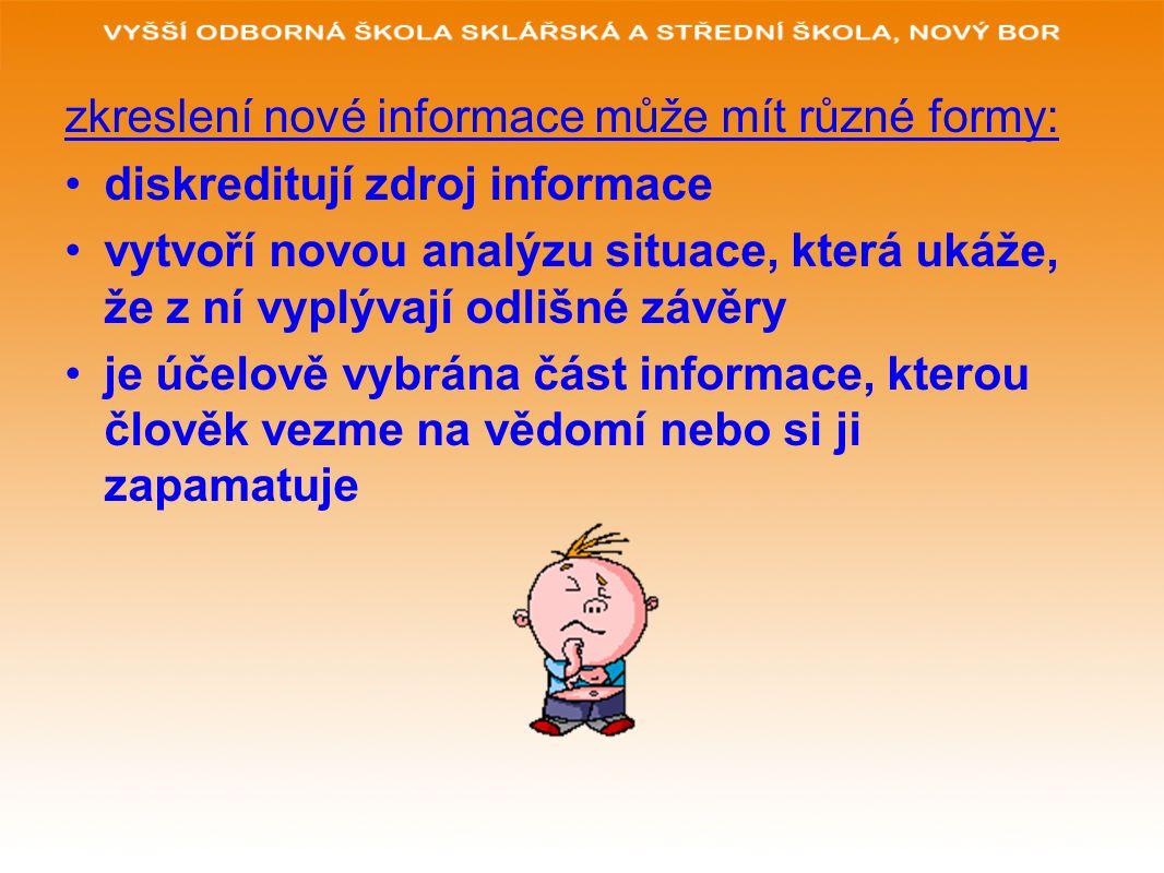 zkreslení nové informace může mít různé formy: diskreditují zdroj informace vytvoří novou analýzu situace, která ukáže, že z ní vyplývají odlišné závě