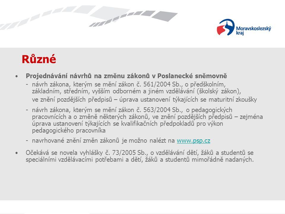 Různé Projednávání návrhů na změnu zákonů v Poslanecké sněmovně - návrh zákona, kterým se mění zákon č.